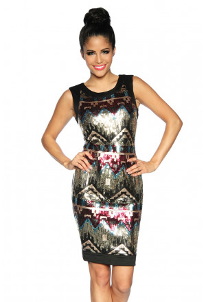 Aztec sequins Diva black straps dress