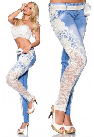 Extravagant jeans with lace