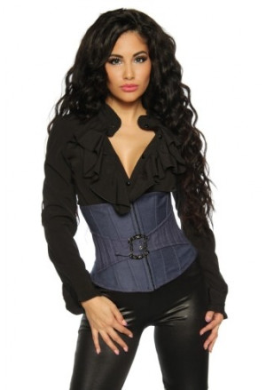 Denim underbust corset - buckle