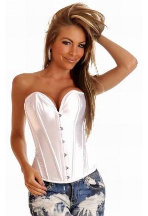 Steel boned satin corset - white