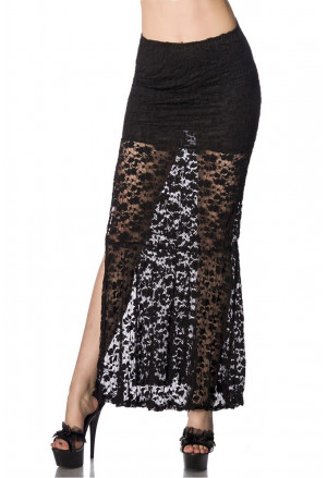 Black lace maxi skirt