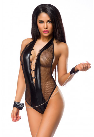 Mesh deep plunge chains bodysuit with handcuffs