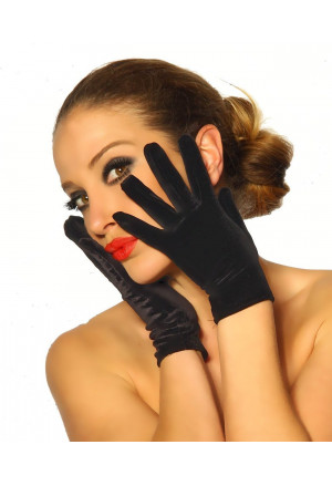 Short black velvet gloves