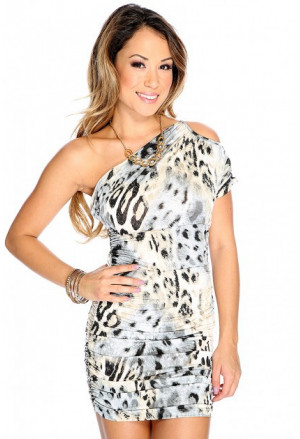 Womens leopard one shoulder kimono dress
