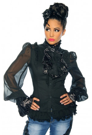 Extravagant steampunk blouse with stand-up collar