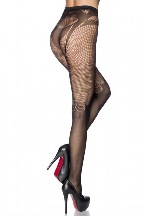 Seductive black fishnet pantyhose with bows