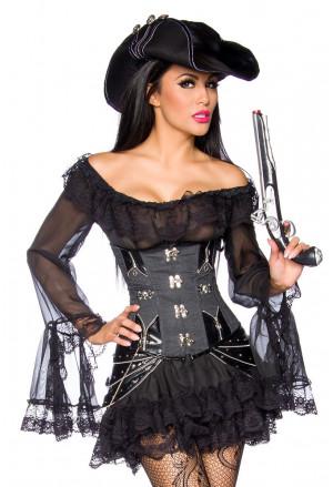 Pôvabné čierne pirátske šaty/blúzka