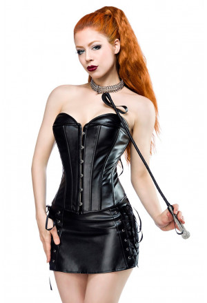 Black PVC lace up corset with skirt Nitta