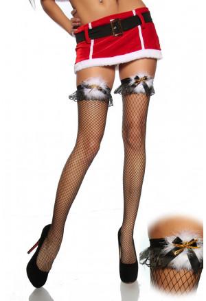 Samodržiace pančuchy s vianočným vzorom
