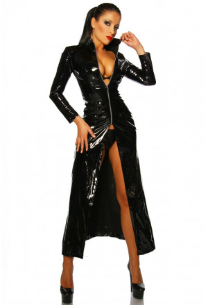 Dlhý Matrix kabát z wetlooku