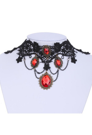 The charming gothic necklace with red rhinestones