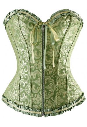 Green corset vamp with zipper