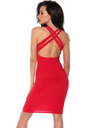 Krátke červené šaty s prekríženými ramienkami