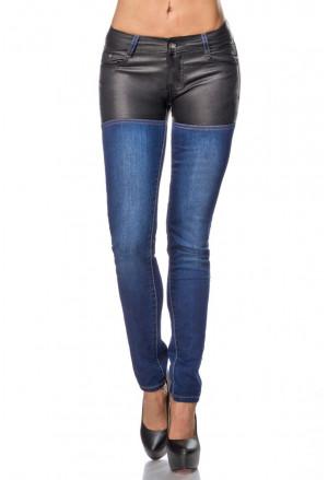 Skinny džínsy s koženkou
