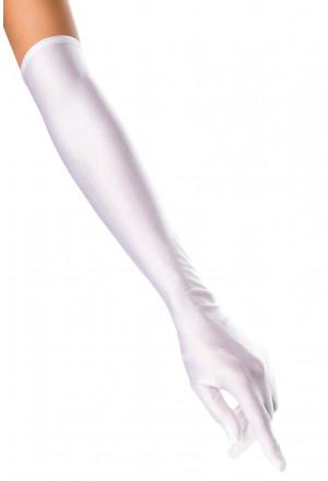 Dlhé saténové rukavice biele
