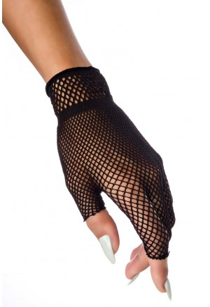 Black rocker fishnet gloves