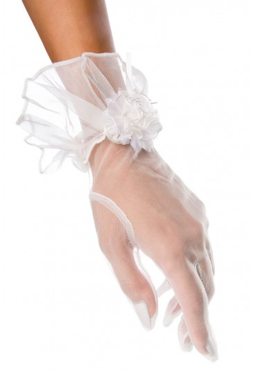 Svadobné biele dámske rukavičky