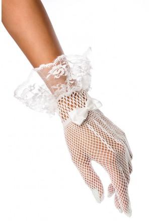 Krátke biele burleska rukavice