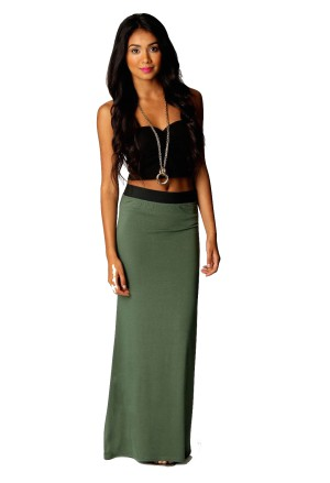 Maxi long khaki skirt with contrast waistband