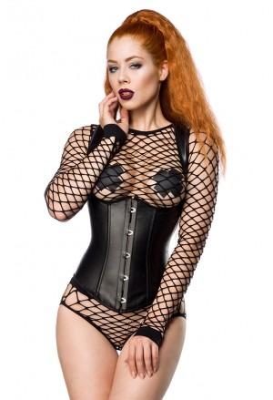 Leatherette underbust corset LONG - black