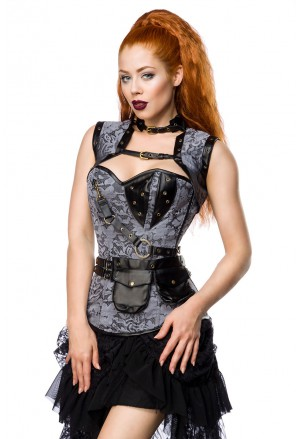 Sophisticated steampunk corset with vest