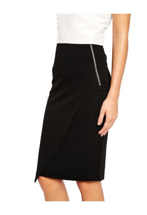 Biznis asymetric pencil zipper skirt