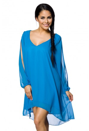 Long sleeve V neck chiffon tunic dress