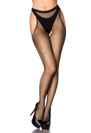 Black stockings with open crotc
