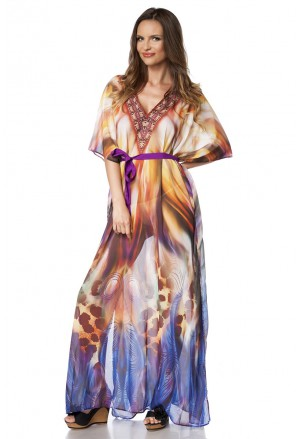 Colorful summer kaftan maxi dress with rhinestones