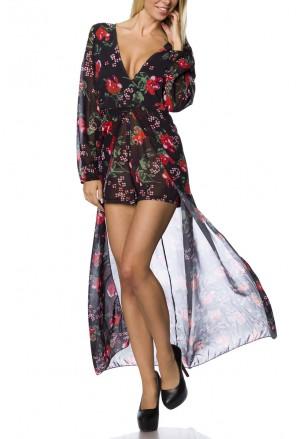 Elegant summer overall dress print SUMMER SPLIT.