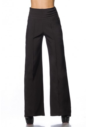 Elegant black wide trousers with pleats