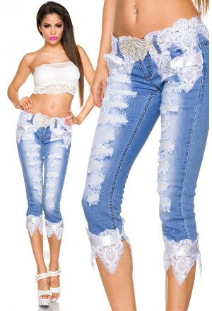 Extravagant jeans with handmade lace