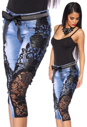 Extravagant jeans with elaborate handmade lace