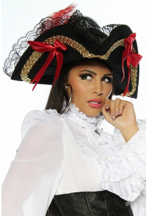 Elegant costume hat for pirate or moulin rouge