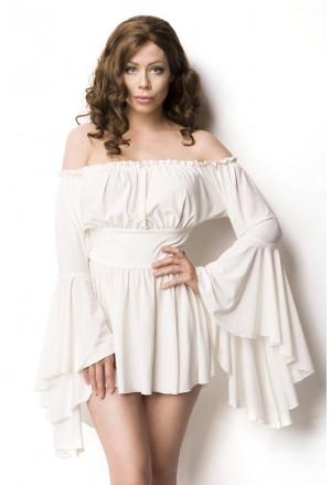 Asymetrické biele historické šaty - tunika