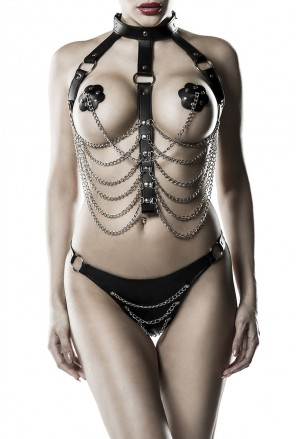 Exclusive Harness bondage lingerie set Grey Velvet