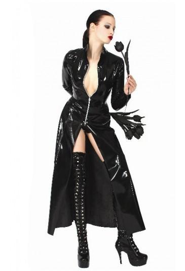 Sexi dlhý wetlook kabát