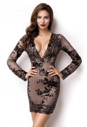 Unique prom short dress with black sequins