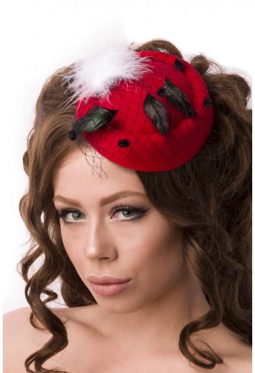Malý červený klobúčik fascinator
