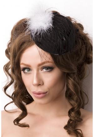 Malý čierny klobúčik retro fascinator