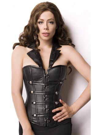 Wild neck holder black faux steampunk corset