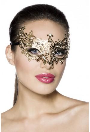 Nezvyčajná zlatá  kovová maska s kamienkami