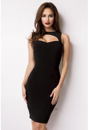 Elegant Asia style black pencil midi dress