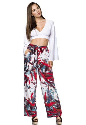 Droopy hippie bohemian multicolour floral pants with pockets
