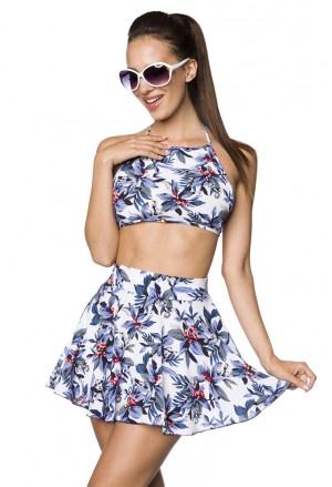 Summer floral two piece set skirt and top