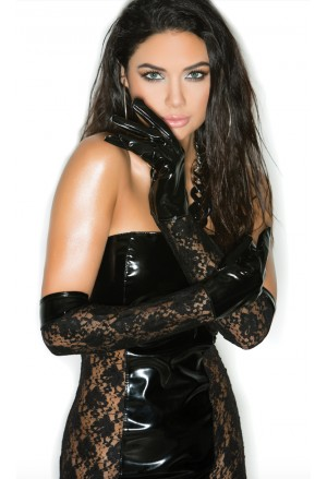 Faux PU black lace elbow gloves