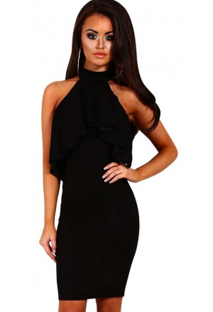 Choker halter dress with frill overlay