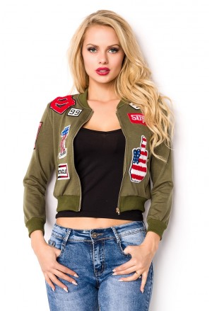 Crop bomber hoodie jacket with patches