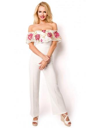 Bohemian floral white social jumpsuit