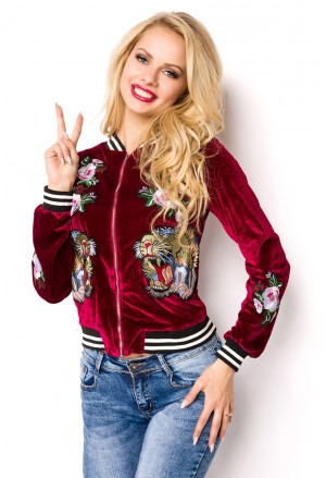 Velvet velour embroidery lion bomber jacket